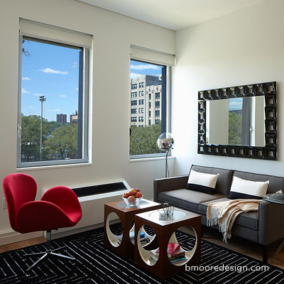 Midtown NYC Mercedes House Apartments Staging by Brooklyn interior designer Barbara Moore.