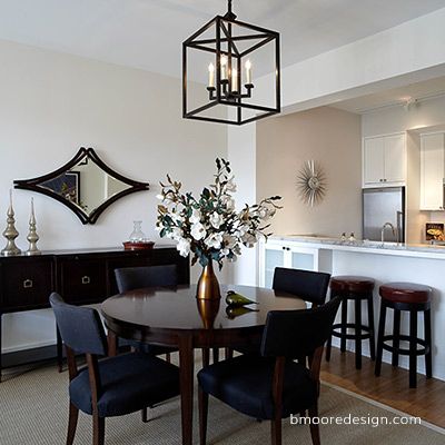 Brooklyn Heights apartment staging by Brooklyn interior designer Barbara Moore of B Moore Design, Inc.