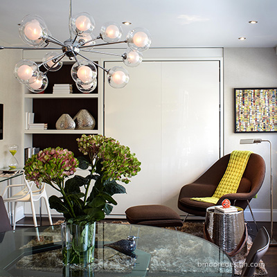 Upper East Side apartment with mid century modern accents by Brooklyn NY interior designer B Moore Design, Inc.